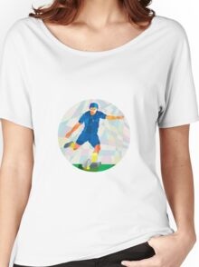 Rugby Player Kicking Ball Circle Low Polygon Women's Relaxed Fit T-Shirt