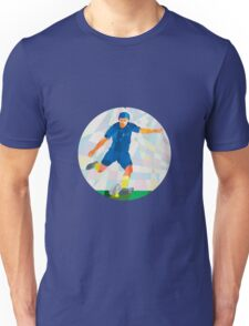 Rugby Player Kicking Ball Circle Low Polygon Unisex T-Shirt