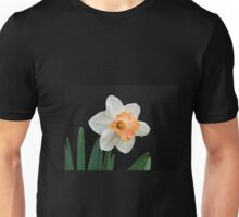 Orange and White Daffodil Against Black Unisex T-Shirt