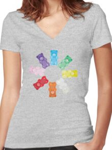 Gummy Bear Circle Women's Fitted V-Neck T-Shirt