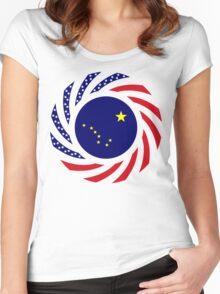 Alaskan Murican Patriot Flag Series Women's Fitted Scoop T-Shirt