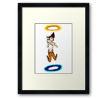 Chell falls for eternity Framed Print