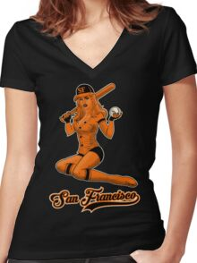 SF Giants Pin-Up Girl 2 Women's Fitted V-Neck T-Shirt