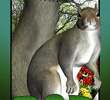 Father's Day Card with Park Scenery and Squirrel by Moonlake
