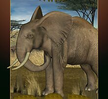 Father's Day Card with Elephant with scenery by Moonlake
