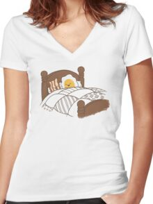 Breakfast In Bed Women's Fitted V-Neck T-Shirt