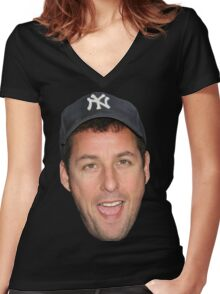 Adam Sandler's Face Women's Fitted V-Neck T-Shirt
