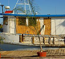 Old Fishermen Boat at Sponge Docks, Tarpon Springs, Florida by coralZ
