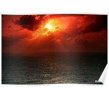 Sunset Over the Caribbean Ocean Poster