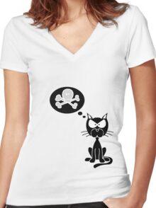 w o r l d ' o m i n a t i o n Women's Fitted V-Neck T-Shirt