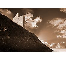 ballybunion castle and the cliff face Photographic Print
