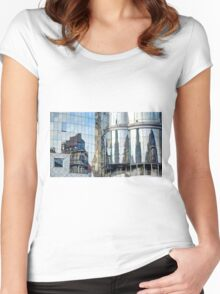 Reflections of the buildings in Stephansdom, Vienna, Austria Women's Fitted Scoop T-Shirt