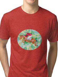 Equestrian Show Jumping Oval Low Polygon Tri-blend T-Shirt