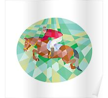 Equestrian Show Jumping Oval Low Polygon Poster