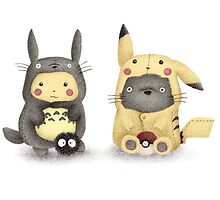 Totoro and Pikachu in Cosplay Fan Art by riaartworld