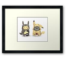Totoro and Pikachu in Cosplay Fan Art Framed Print