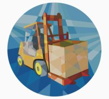 Forklift Truck Materials Box Circle Low Polygon by patrimonio