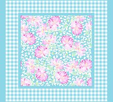 Pink Roses, White Butterflies and Sky BlueCheck Gingham by helikettle