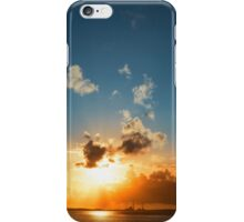 bright orange sunset over a power station iPhone Case/Skin