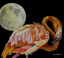 Moon Over Mississippi A Flamingos Perspective by Phyllis Beiser