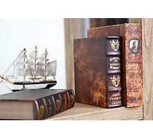Old rare leatherbound books on a bookshelf Photographic Print