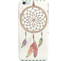 Hand drawn native american dream catcher, beads and feathers iPhone Case/Skin