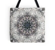 Ornate Gothic Stained Glass Cathedral Window Pink Grey Mandala Medallion Pattern Tote Bag