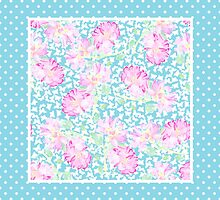 Pink Roses, White Butterflies and Sky Blue Check Polka Dots by helikettle