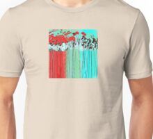 Long-Stem Flowers in Aqua and Red Unisex T-Shirt