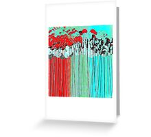 Long-Stem Flowers in Aqua and Red Greeting Card