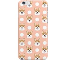 Corgi polka dots peach blush pastel pink coral welsh corgi iphone case for dog lover gifts for dogs iPhone Case/Skin