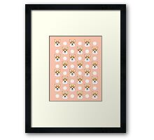 Corgi polka dots peach blush pastel pink coral welsh corgi iphone case for dog lover gifts for dogs Framed Print