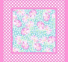 Pink Roses, White Butterflies on Sky Blue and Polka Dots on Pink by helikettle