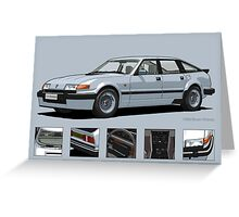 Rover Vitesse 1986 Silver Leaf Greeting Card