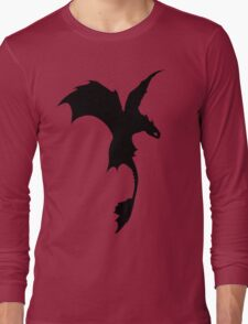 Toothless Silhouette - Plain Long Sleeve T-Shirt
