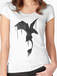 Toothless Silhouette - Ink Drips Women's Fitted Scoop T-Shirt