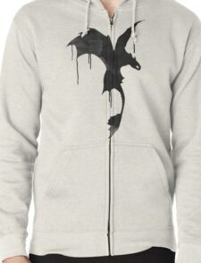 Toothless Silhouette - Ink Drips Zipped Hoodie
