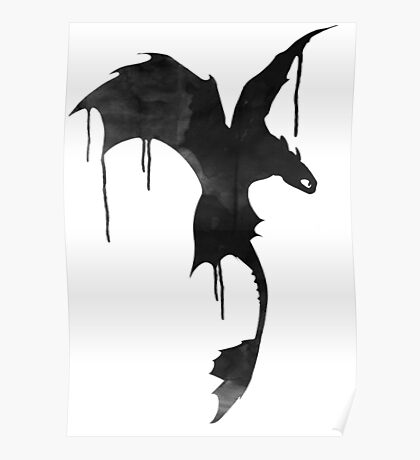 Toothless Silhouette - Ink Drips Poster
