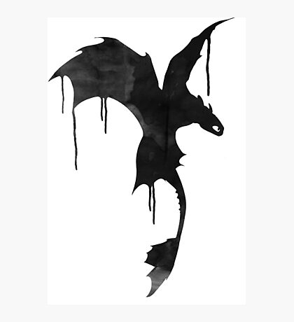 Toothless Silhouette - Ink Drips Photographic Print