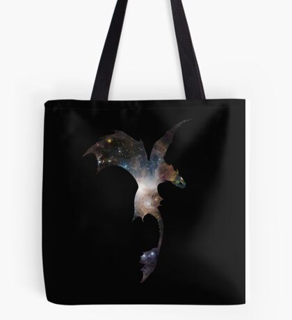 Toothless Silhouette - Galaxy Print Tote Bag