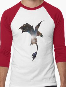 Toothless Silhouette - Galaxy Print Men's Baseball ¾ T-Shirt