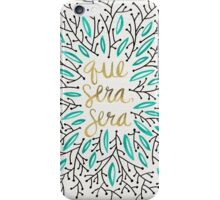 Whatever Will Be, Will Be (Turquoise & Gold) iPhone Case/Skin