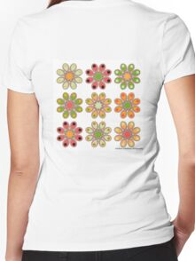 Melon Foot Flowers Women's Fitted V-Neck T-Shirt