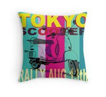 Tokyo Scooter Rally Poster Blue Square Throw Pillow