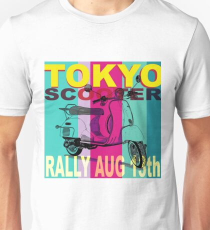 Tokyo Scooter Rally Poster Blue Square Unisex T-Shirt