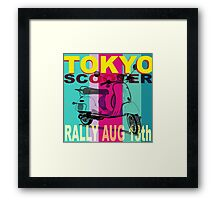 Tokyo Scooter Rally Poster Blue Square Framed Print
