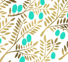Gold & Turquoise Olive Branches Sticker