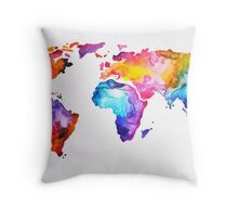 Rainbow World Map Throw Pillow
