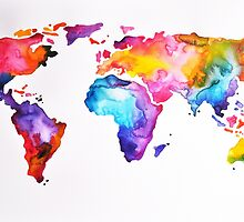 Rainbow World Map by ArtCornerShop