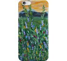 Mountain Twilight, impressionism art, mountain wildflowers iPhone Case/Skin